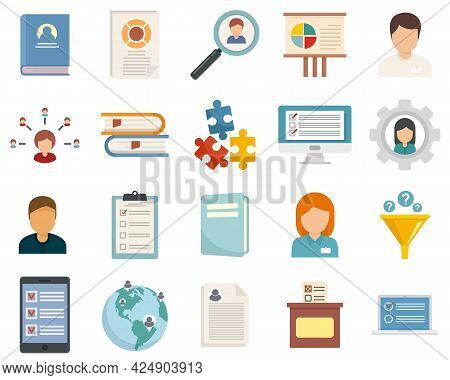 Sociology Icons Set. Flat Set Of Sociology Vector Icons Isolated On White Background