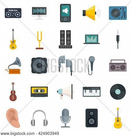 Acoustics Icons Set. Flat Set Of Acoustics Vector Icons Isolated On White Background