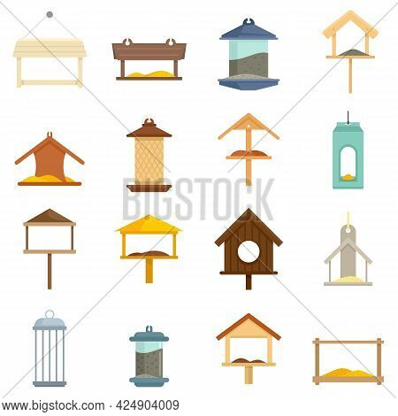 Bird Feeders Icons Set. Flat Set Of Bird Feeders Vector Icons Isolated On White Background
