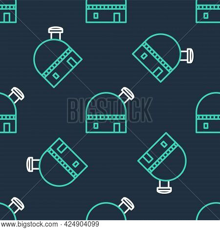 Line Astronomical Observatory Icon Isolated Seamless Pattern On Black Background. Vector