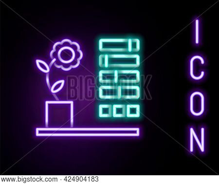 Glowing Neon Line Flower Status Icon Isolated On Black Background. Colorful Outline Concept. Vector