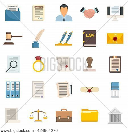 Notary Icons Set. Flat Set Of Notary Vector Icons Isolated On White Background