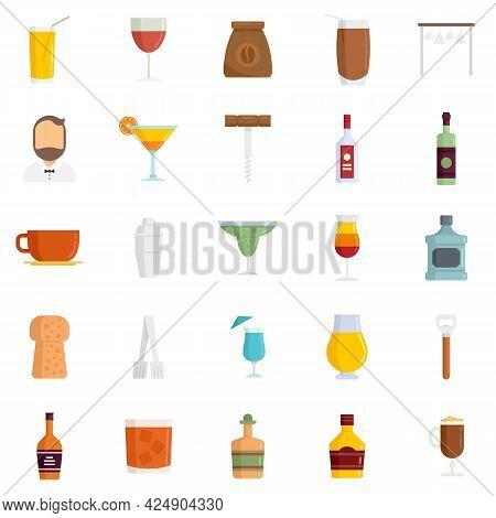 Bartender Icons Set. Flat Set Of Bartender Vector Icons Isolated On White Background