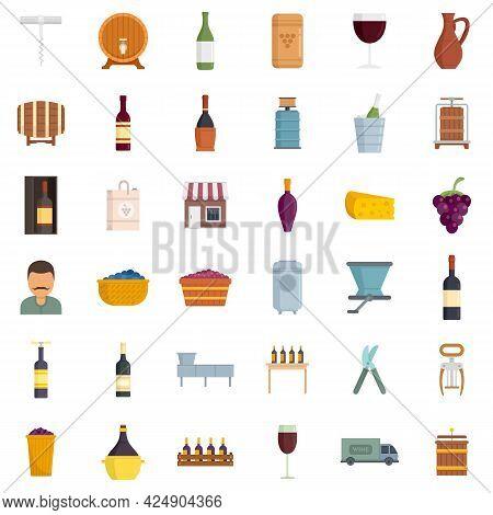 Winemaker Icons Set. Flat Set Of Winemaker Vector Icons Isolated On White Background