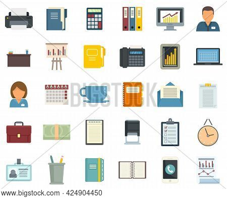 Office Manager Icons Set. Flat Set Of Office Manager Vector Icons Isolated On White Background