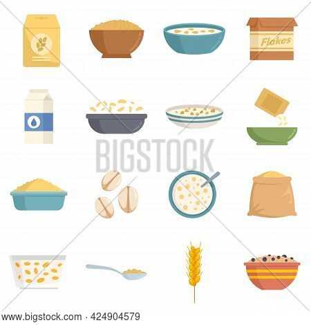 Cereal Flakes Icons Set. Flat Set Of Cereal Flakes Vector Icons Isolated On White Background