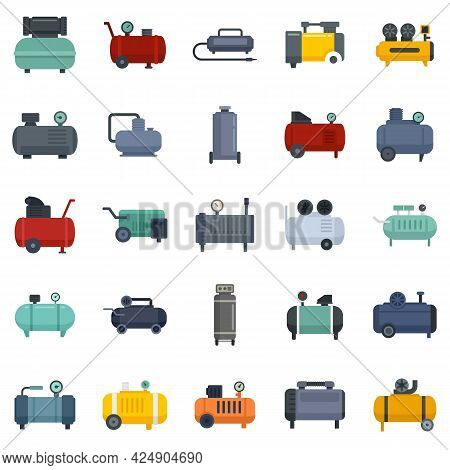 Air Compressor Icons Set. Flat Set Of Air Compressor Vector Icons Isolated On White Background