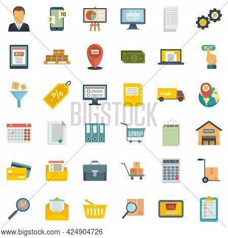 Purchasing Manager Icons Set. Flat Set Of Purchasing Manager Vector Icons Isolated On White Backgrou