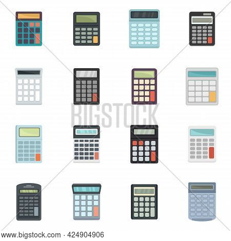 Calculator Icons Set. Flat Set Of Calculator Vector Icons Isolated On White Background