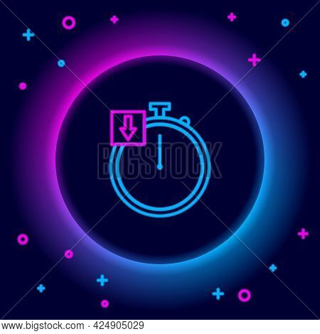 Glowing Neon Line Stopwatch Icon Isolated On Black Background. Time Timer Sign. Chronometer. Colorfu
