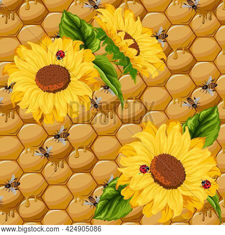 Pattern With Sunflowers On A Honeycomb Background.sunflowers And Bees On A Background Of Honeycombs