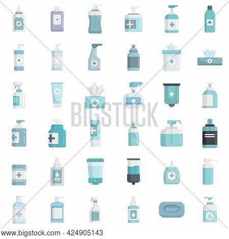 Antiseptic Icons Set. Flat Set Of Antiseptic Vector Icons Isolated On White Background