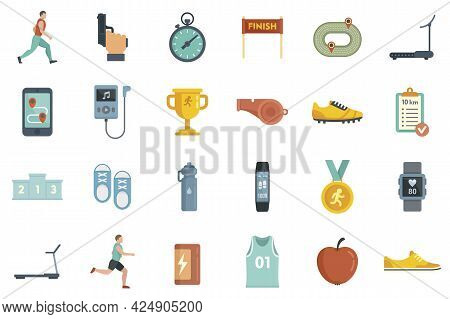 Running Icons Set. Flat Set Of Running Vector Icons Isolated On White Background