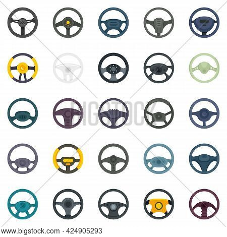 Steering Wheel Icons Set. Flat Set Of Steering Wheel Vector Icons Isolated On White Background
