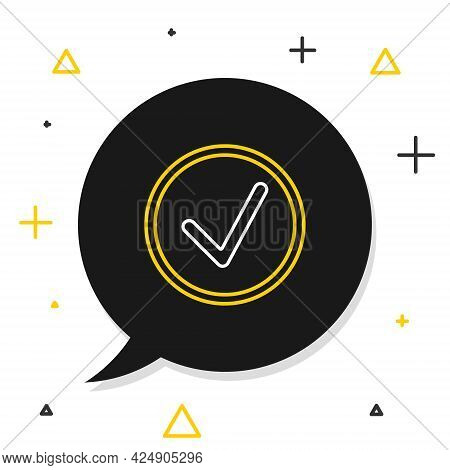 Line Check Mark In Circle Icon Isolated On White Background. Choice Button Sign. Checkmark Symbol. C