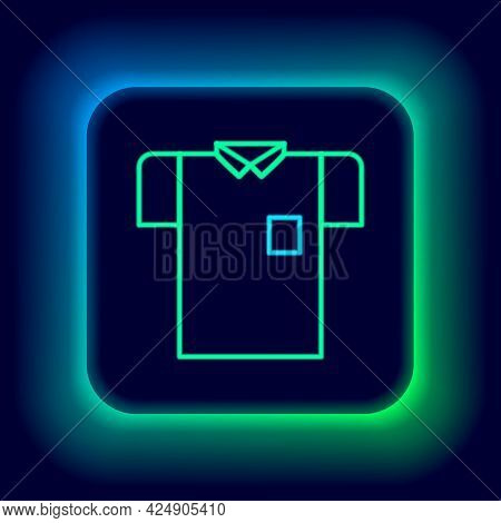 Glowing Neon Line Polo Shirt Icon Isolated On Black Background. Colorful Outline Concept. Vector