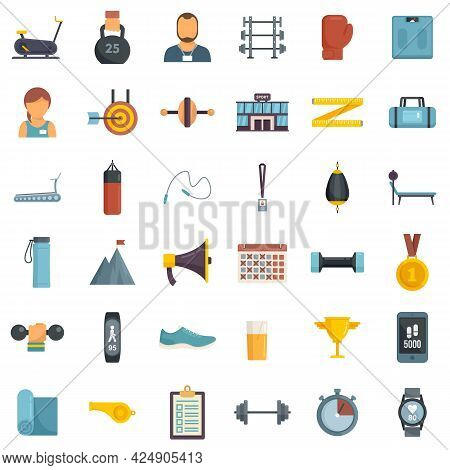 Personal Trainer Icons Set. Flat Set Of Personal Trainer Vector Icons Isolated On White Background