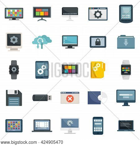 Operating System Icons Set. Flat Set Of Operating System Vector Icons Isolated On White Background