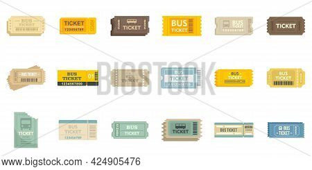 Bus Ticketing Icons Set. Flat Set Of Bus Ticketing Vector Icons Isolated On White Background