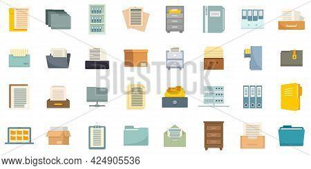 Storage Of Documents Icons Set. Flat Set Of Storage Of Documents Vector Icons Isolated On White Back