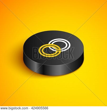 Isometric Line Wedding Rings Icon Isolated On Yellow Background. Bride And Groom Jewelery Sign. Marr