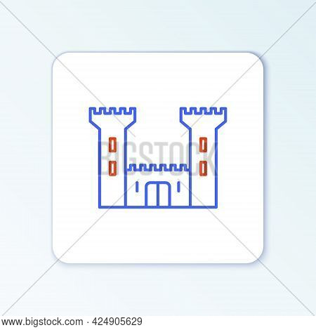 Line Castle Icon Isolated On White Background. Fortress Sign. Colorful Outline Concept. Vector