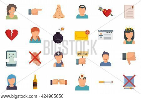 Teen Problems Icons Set. Flat Set Of Teen Problems Vector Icons Isolated On White Background