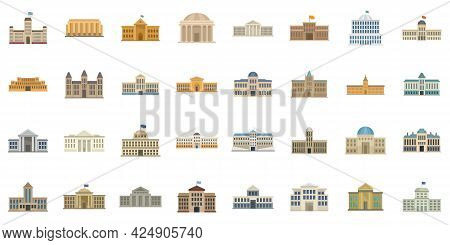 Parliament Icons Set. Flat Set Of Parliament Vector Icons Isolated On White Background