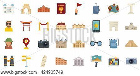 Sightseeing Icons Set. Flat Set Of Sightseeing Vector Icons Isolated On White Background