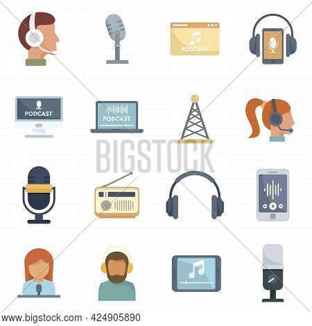 Podcast Icons Set. Flat Set Of Podcast Vector Icons Isolated On White Background