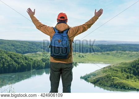 Man Hiking Happy At Top Of Mountain. Travel Lifestyle Success Concept Adventure Active Vacations Out