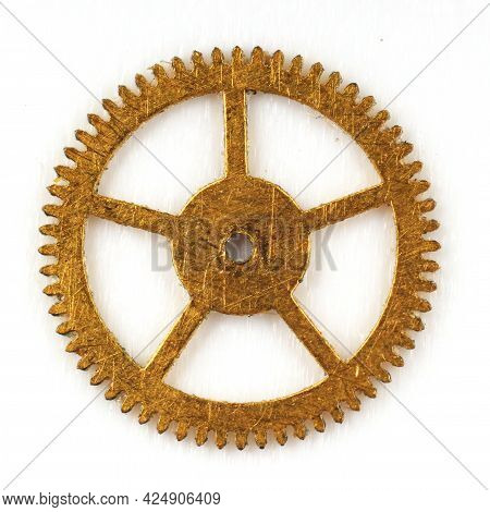 One Gear With Clock On A White Background