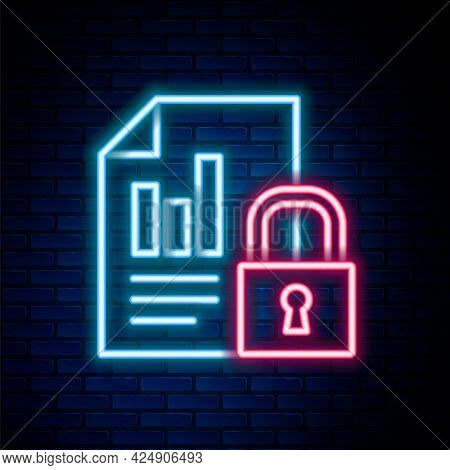 Glowing Neon Line Document And Lock Icon Isolated On Brick Wall Background. File Format And Padlock.