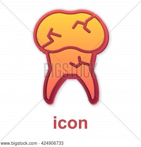 Gold Tooth With Caries Icon Isolated On White Background. Tooth Decay. Vector