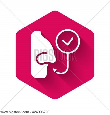 White Healthy Breathing Icon Isolated With Long Shadow Background. Breathing Nose. Pink Hexagon Butt
