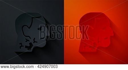 Paper Cut Throat Cancer Icon Isolated On Black And Red Background. Laryngeal Cancer. Paper Art Style