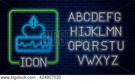 Glowing Neon Heartbeat Increase Icon Isolated On Brick Wall Background. Increased Heart Rate. Neon L