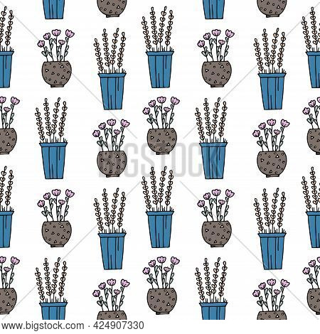Seamless Pattern With Hand Drawn Colorful Floral Elements, Flowers In Pots On A White Background. It