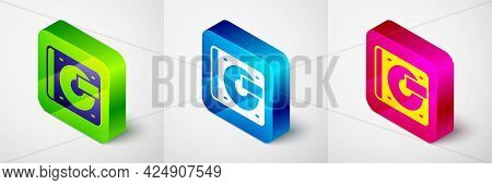 Isometric Vinyl Player With A Vinyl Disk Icon Isolated On Grey Background. Square Button. Vector