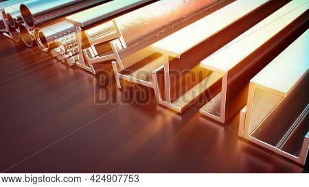 Glowing Metal Profile And Rebar . Cgi Industrial 3d Illustration