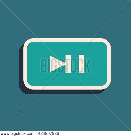 Green Pause Button Icon Isolated On Green Background. Long Shadow Style. Vector