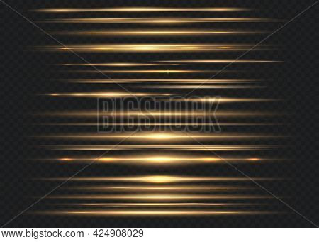 Set Of Yellow Horizontal Lens Flares. Laser Beams, Horizontal Light Beams. Beautiful Flashes Of Ligh