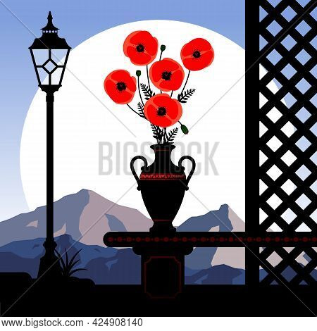 Abstract Landscape With Red Poppies In A Vase Against A Background Of Mountains. Vector Illustration