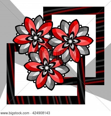Stylized Red Flowers On An Abstract Background. Vector Illustration.