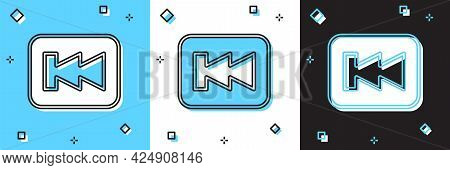 Set Rewind Button Icon Isolated On Blue And White, Black Background. Vector