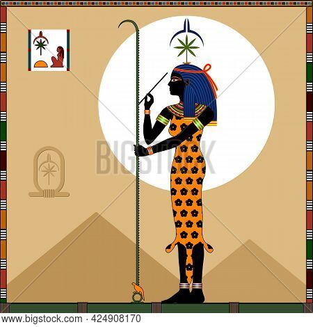 Ancient Egyptian Goddess Of Wisdom, Knowledge, Writing, Time Counting And Art Seshat. Vector Illustr