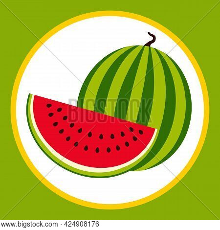 Drawn Stylized Whole And Cut Watermelon Fruit. Vector Illustration.