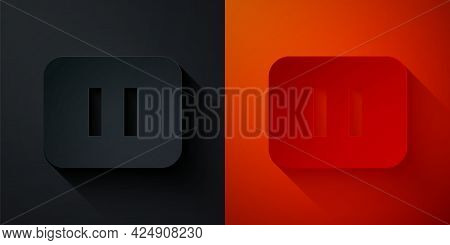 Paper Cut Pause Button Icon Isolated On Black And Red Background. Paper Art Style. Vector