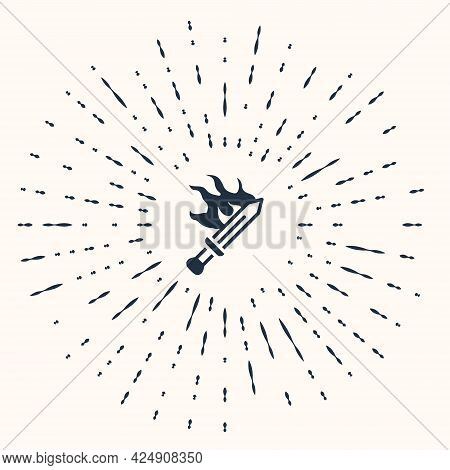 Grey Sword For Game Icon Isolated On Beige Background. Abstract Circle Random Dots. Vector