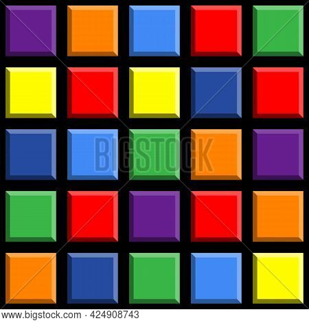 Geometric Seamless Pattern With Colorful Tile Squares On A Black Background. Vector Illustration.